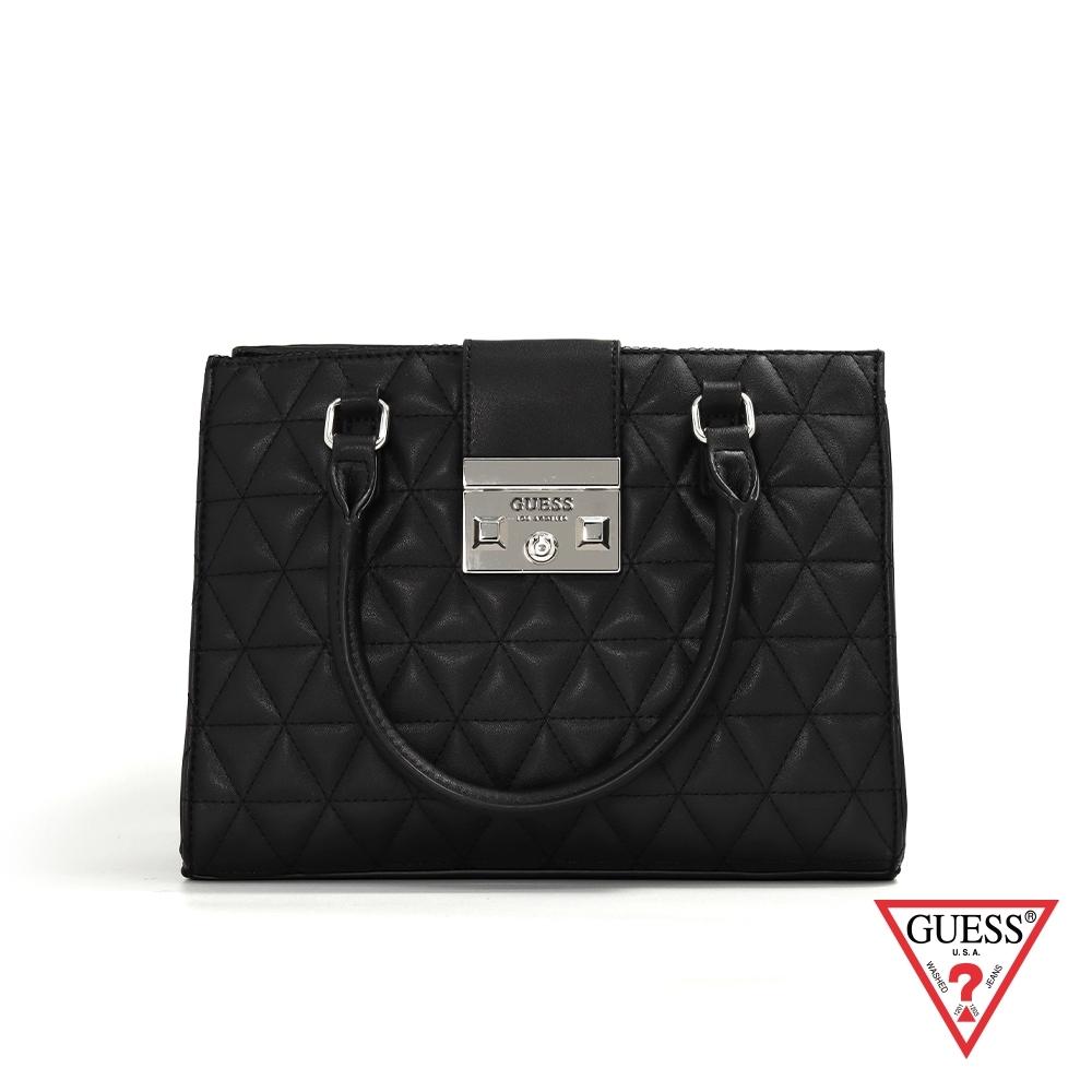GUESS-女包-簡約菱格壓紋兩用手提包-黑 原價3690