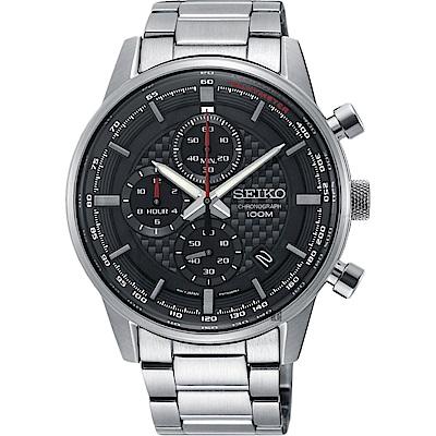 SEIKO精工 CS 城市系列三眼計時手錶(SSB313P1)-黑x銀/42mm