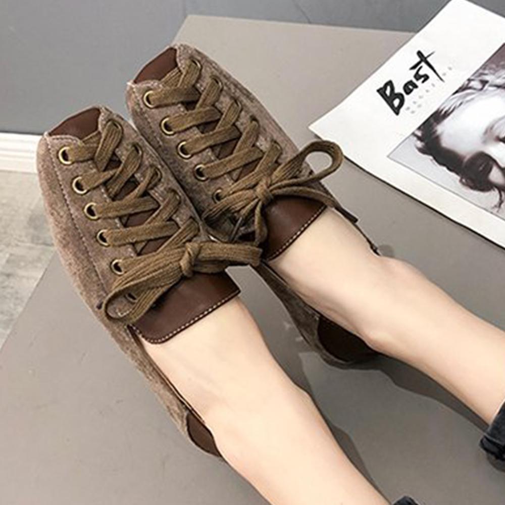 韓國KW美鞋館 好評加碼熱賣款綁帶平底鞋-棕色