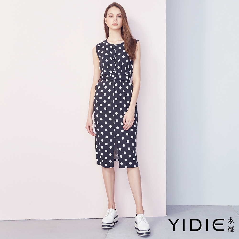 【YIDIE衣蝶】亞麻無袖圓點連身洋裝