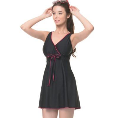 沙兒斯 泳裝 素雅連身裙式女泳裝(大尺碼)