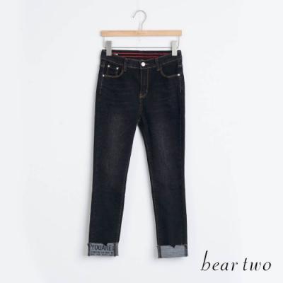 bear two- 褲管反折牛仔長褲 - 黑
