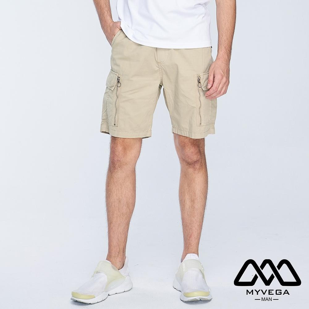 MYVEGA MAN可工裝多口袋裝飾拉鍊短褲-卡其