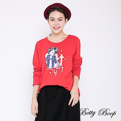 Betty Boop貝蒂 貝蒂大圖刷毛長版上衣(共兩色)