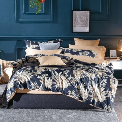 La Lune 台灣製300織紗長纖絨棉雙人床包枕套3件組 Eaton Hall -藍