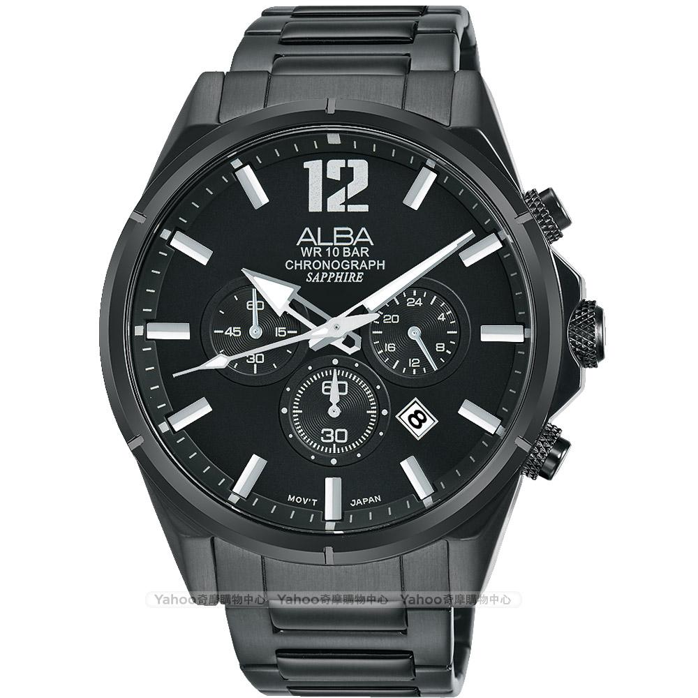 ALBA 雅柏 ACTIVE 活力運動計時手錶(AT3D29X1)-鍍黑/43mm