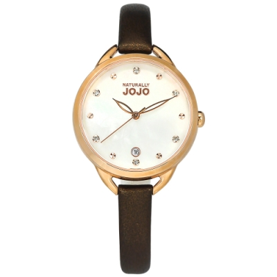 NATURALLY JOJO / 花樣潮流 珍珠母貝 晶鑽 真皮手錶-銀白x玫瑰金框x咖啡/33mm
