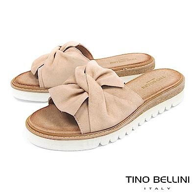 Tino Bellini 西班牙進口真皮典雅領結厚底涼拖鞋 _ 淺駝