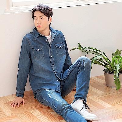 高含棉自然刷色牛仔襯衫/外套-OB大尺碼