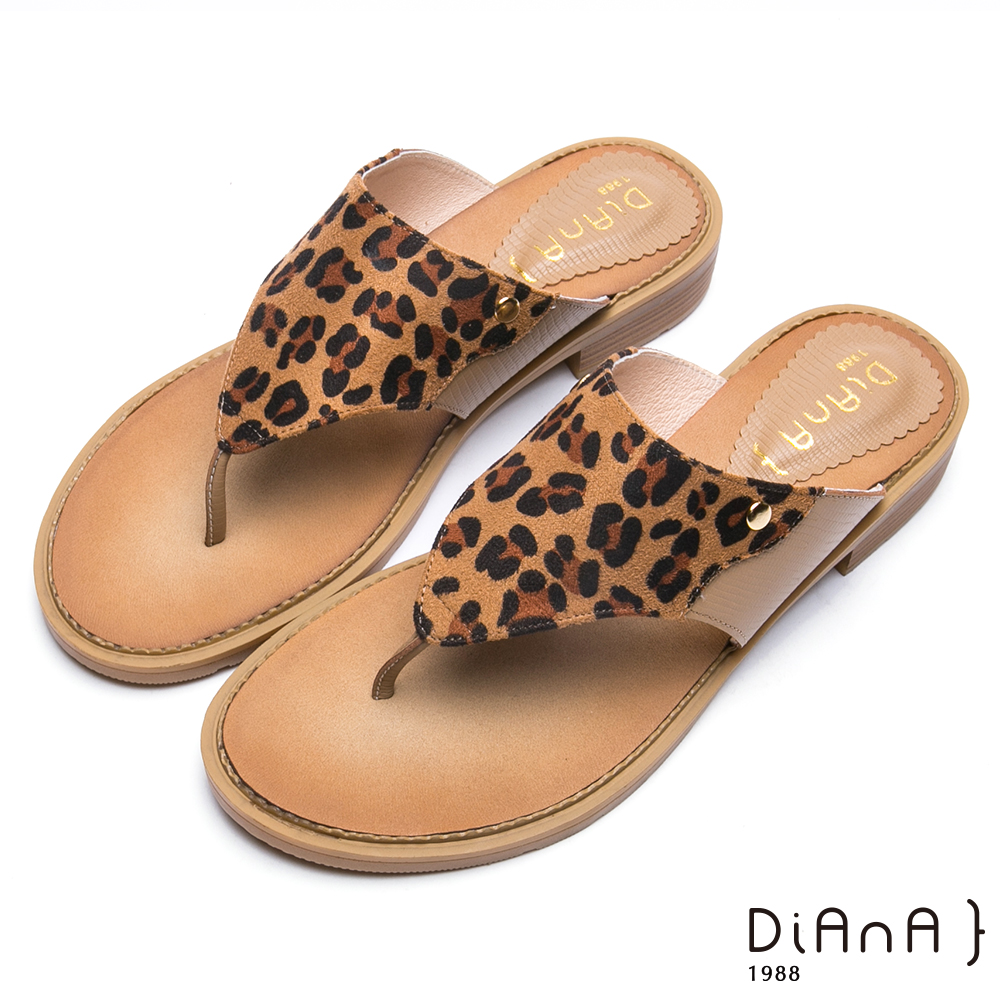 DIANA牛皮x豹紋夾腳平底涼拖鞋-摩登時尚-棕