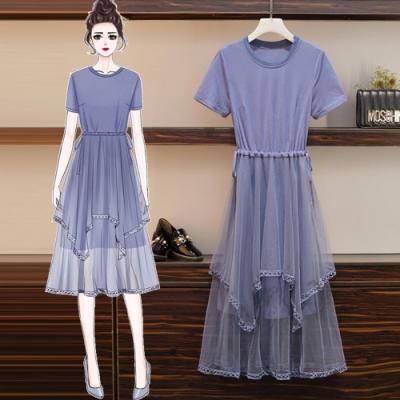 浪漫薰衣紫彈性顯瘦拼接網紗洋裝XL-5XL-KVOLL