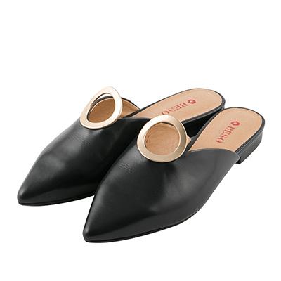 BESO 時髦前線 尖頭立體圓形穆勒鞋~黑