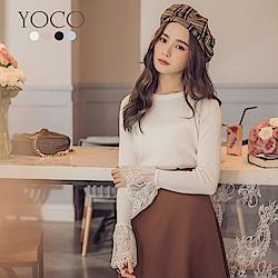 東京著衣-yoco Chic風多色百搭蕾絲荷葉袖針織上衣-S.M.L(共四色)