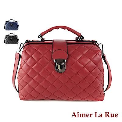 Aimer La Rue 安德莉亞菱格紋手提側背大開口醫生包(三色)