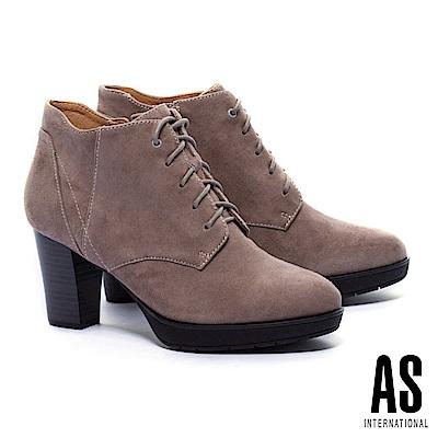 踝靴 AS 知性學院風純色綁帶全真皮高跟踝靴-可可
