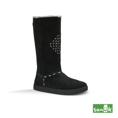 SANUK 麂皮內鋪羊毛長筒靴-女款(黑色)