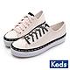Keds TRIPLE KICK  經典LOGO黑白撞色厚底綁帶休閒鞋-粉紅 product thumbnail 1