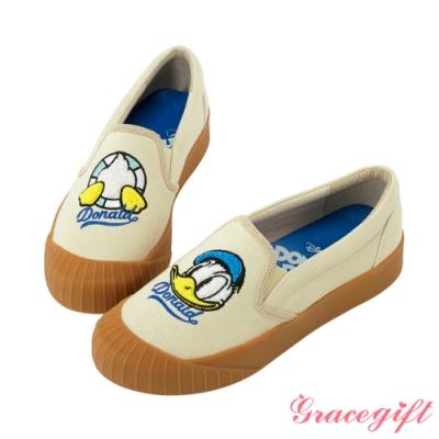 Disney collection by gracegift不對稱電繡平底鞋 米白