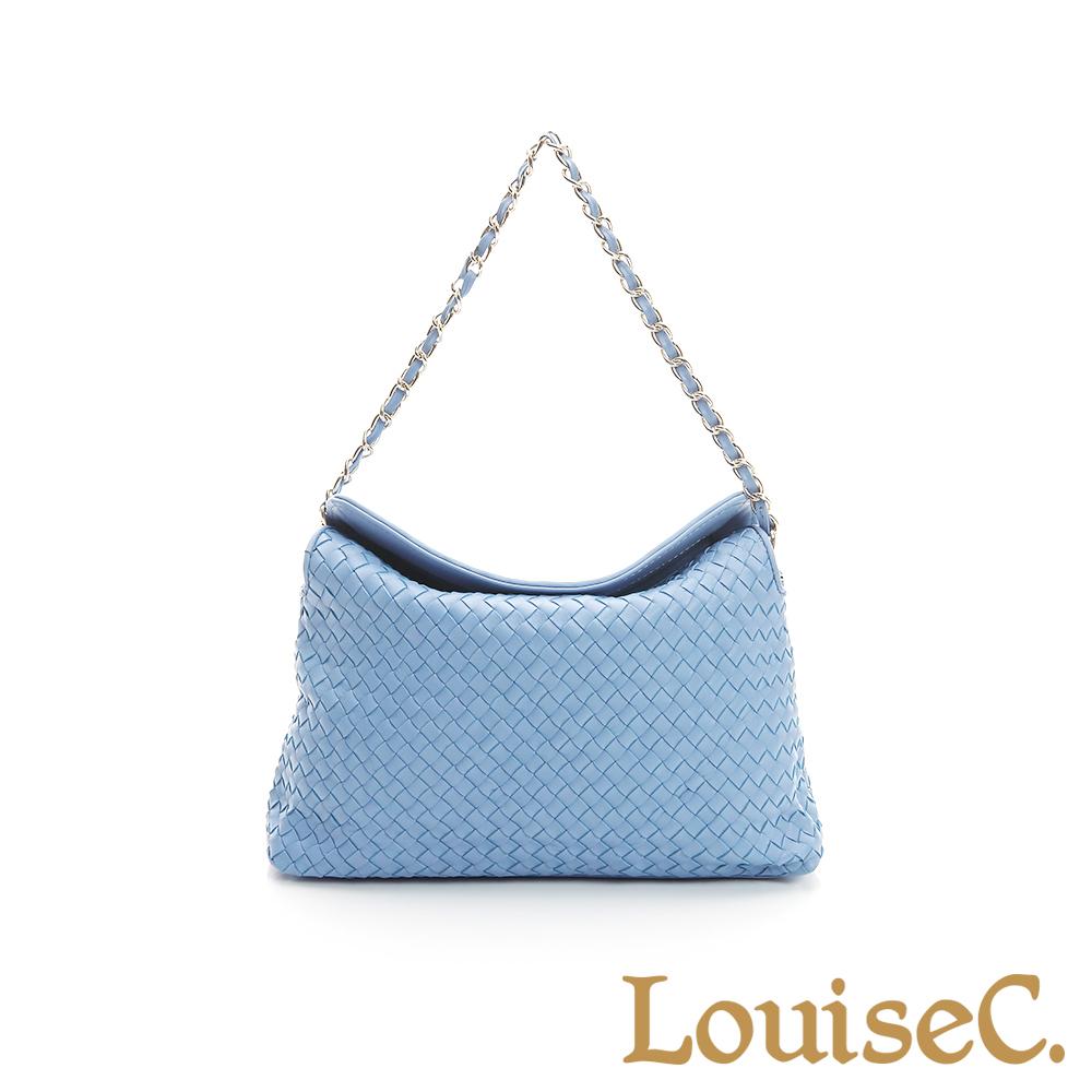 LouiseC. 羊皮編織掀蓋式磁釦小包-水藍色-05L05-0030A09B