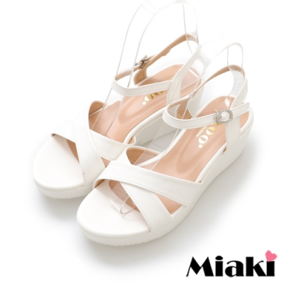 Miaki-涼鞋東大時尚厚底露趾涼拖-白