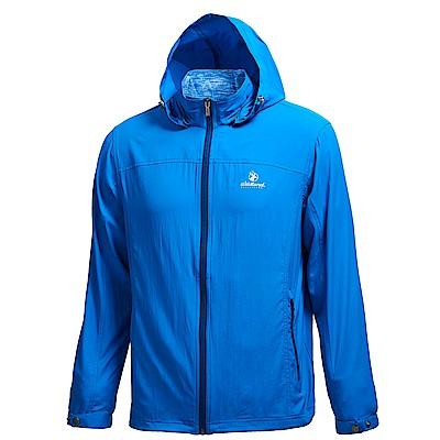 荒野【wildland】男彈性透氣抗UV輕薄外套-中藍色