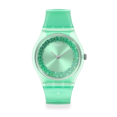 Swatch 菁華系列手錶 AMAZO-NIGHT 粉彩綠-34mm