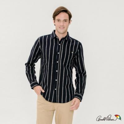Arnold Palmer -男裝-長袖休閒直條襯衫-藍色