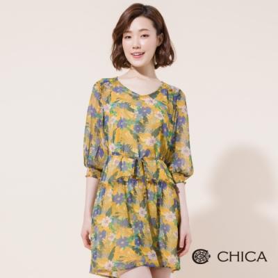 CHICA 異國斑斕花卉腰綁帶雪紡洋裝(2色)