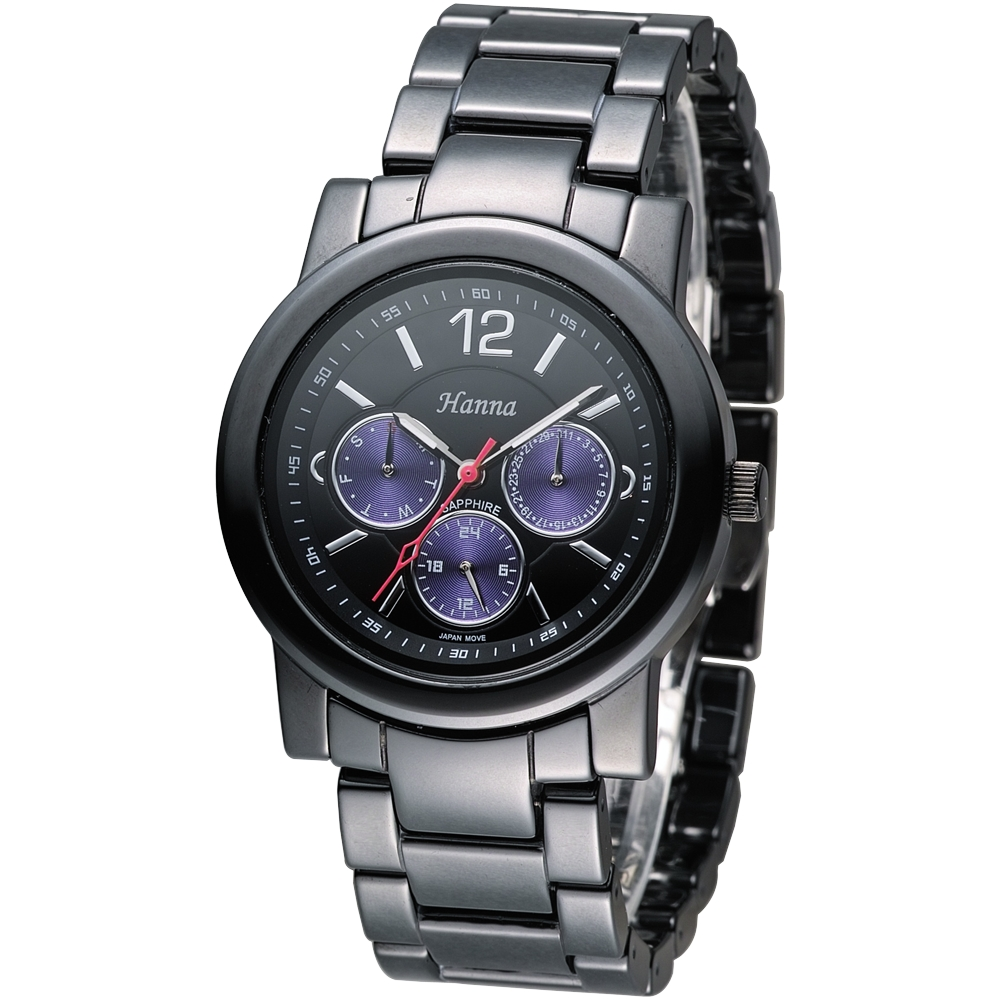 Hanna 巴黎時尚全日曆黑陶瓷腕錶-紫色小錶盤(H6941G-VX3J-3)/38mm