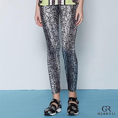 GLORY21-漸層豹紋印花彈性長褲-雙色