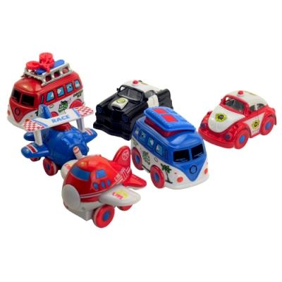 《Transportation》趣味Q版造型系列動動磨輪車6入組