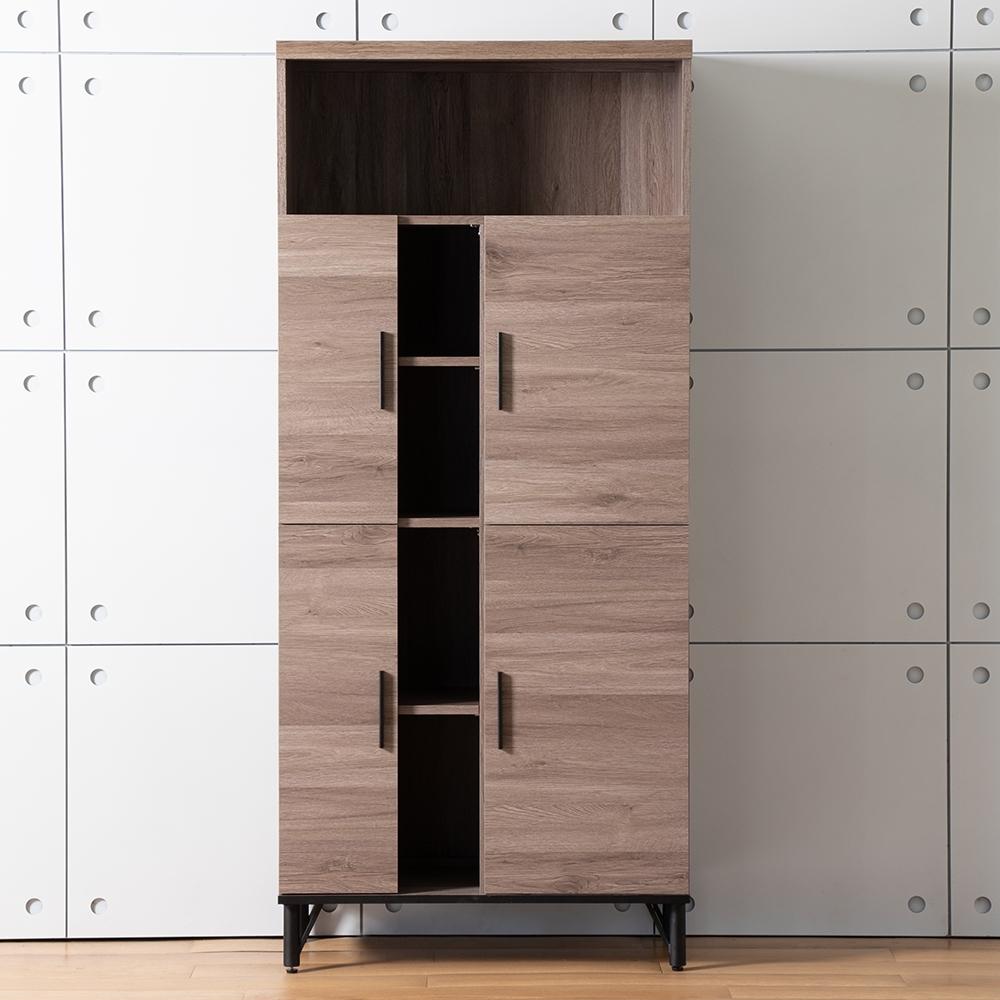 D&T 德泰傢俱 BROOK淺胡桃木6尺高收納櫃 (80x45.3x180cm)