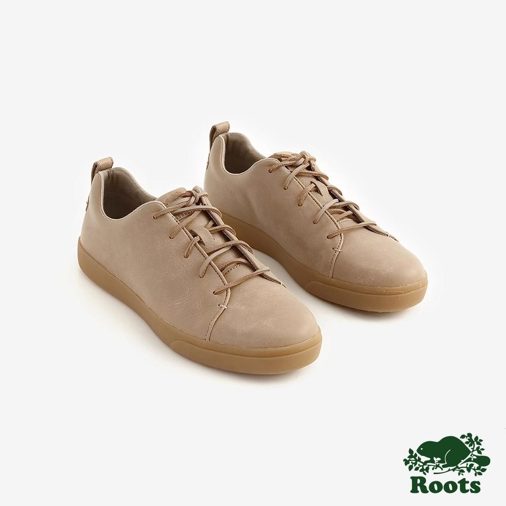 ROOTS男鞋- 派克皮革網球鞋 -棕