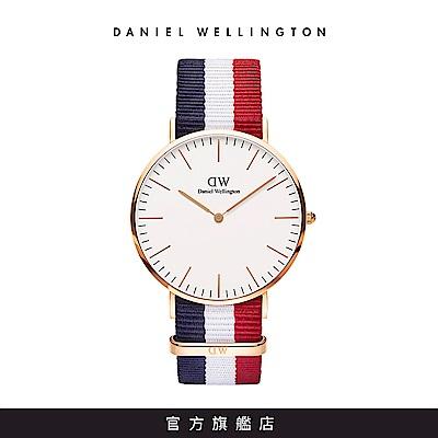 DW 手錶 官方旗艦店 40mm玫瑰金框 Classic 經典藍紅織紋手錶