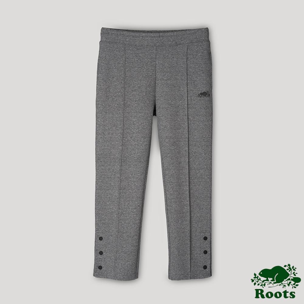 Roots女裝-開拓者系列 釘釦設計九分棉褲-灰色