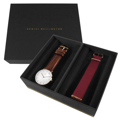 Daniel Wellington 真皮帆布手錶禮盒套組-白x玫瑰金x咖啡/36mm