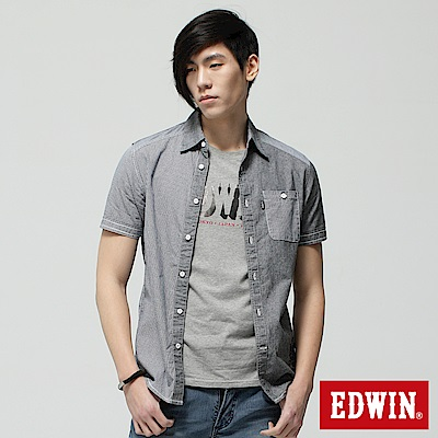 EDWIN 襯衫 格紋拼接短袖襯衫-男-黑色
