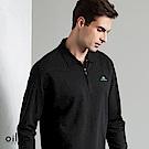 歐洲貴族 oillio 長袖POLO 素面簡約 簡單刺繡 黑色
