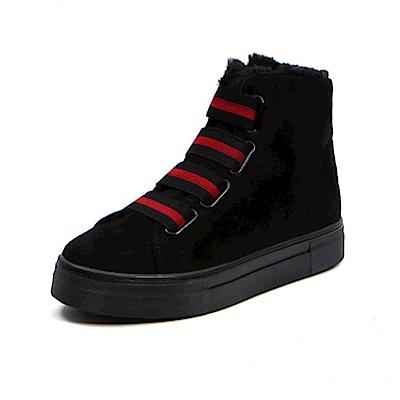 【AIRKOREA韓國空運】正韓鬆緊帶保暖內鋪毛厚底休閒雪靴-黑
