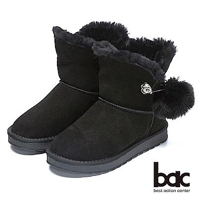 bac街頭運動-2WAY兩穿式可拆鑽飾兔毛大圓球雪靴