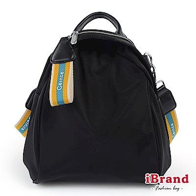 iBrand後背包 簡約漾彩織帶尼龍3way後背包-藍黃米