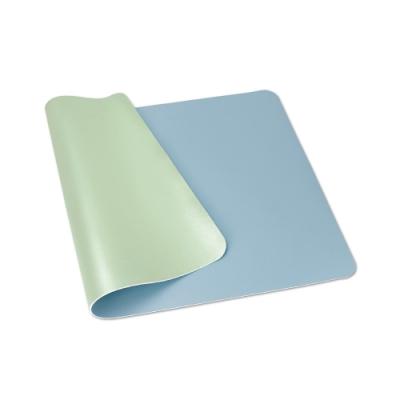 【ABEL】雙色PU皮質桌墊-天藍+果綠