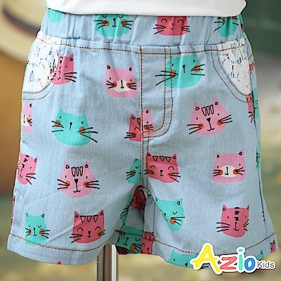 Azio Kids 短褲 彩色點點小貓蕾絲假口袋短褲(藍)