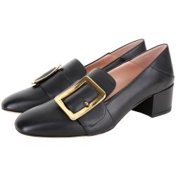 BALLY JANELLE 方釦牛皮粗跟樂福鞋(黑色)
