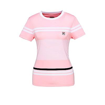 FILA 女款抗UV吸濕排汗T恤-粉 5TET-1005-PK
