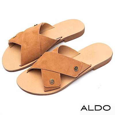 ALDO 原色牛皮佐金屬寬版交叉露趾涼拖鞋~個性焦糖