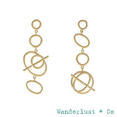 Wanderlust+Co INFUSION系列 幾何圓圈星軌鍍18K金耳環