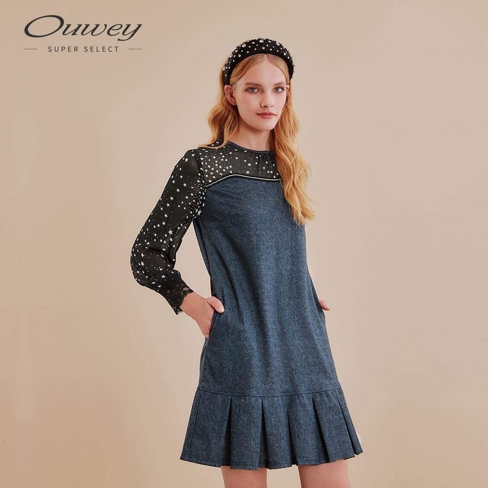 OUWEY歐薇 星空仿牛仔連身洋裝(藍)