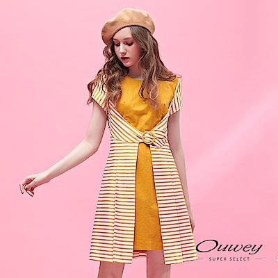 OUWEY歐薇 條紋拼接收腰造型配色洋裝(黃)