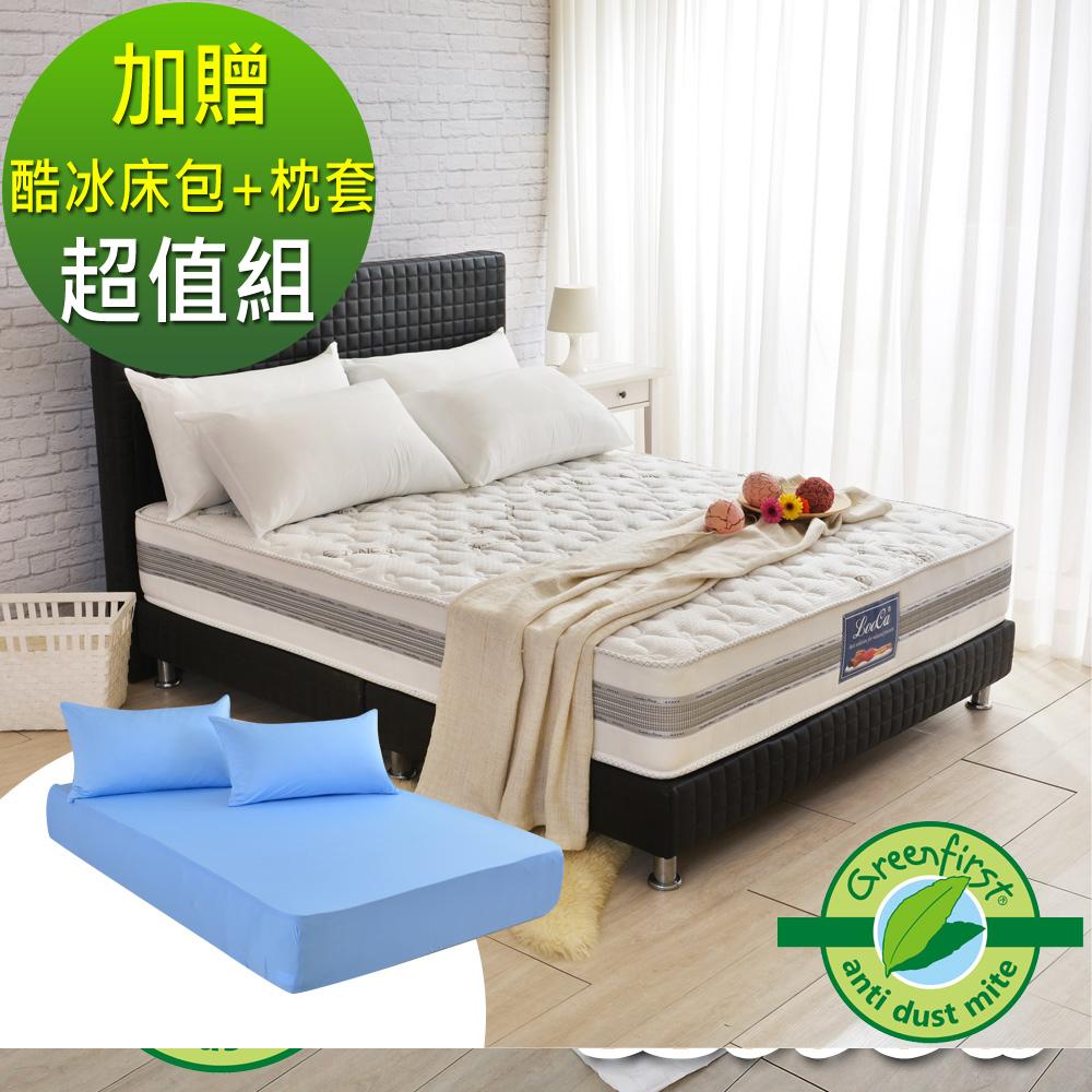 (618特惠組)雙人5尺-LooCa 法國防蹣+防蚊+護框護背硬式獨立筒床墊